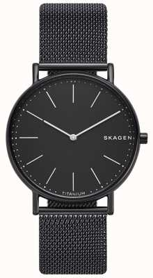 Skagen Mens signatur Edelstahl schwarz Mesh Armband schwarzes Zifferblatt SKW6484