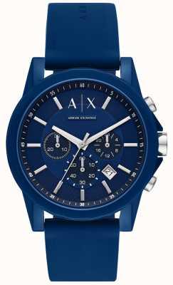 Armani Exchange Herren Sportuhr Geschenkset | blaues Silikonarmband | AX7107