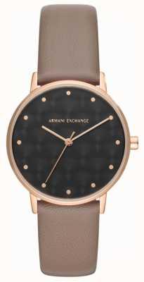 Armani Exchange Damen Kleid Uhr braun Lederband AX5553
