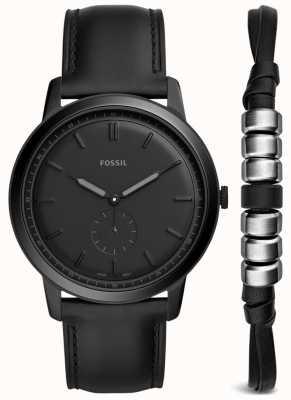 Fossil Mens minimalistisches Geschenk Geschenkset schwarzes Lederarmband FS5500SET