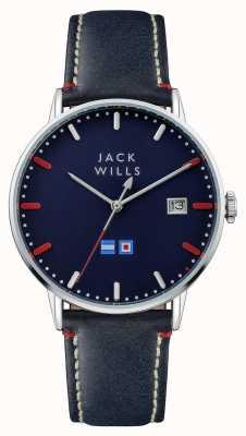 Jack Wills Mens Batson blaues Zifferblatt blau Lederband JW002BLSS