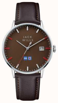 Jack Wills Mens Batson braunes Zifferblatt braunes Lederarmband JW002BRBR