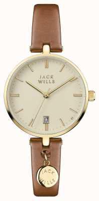 Jack Wills Damen Bennett Creme Zifferblatt braunes Lederarmband JW005CMGD