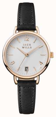 Jack Wills Onslow weißes Zifferblatt mit schwarzem Lederarmband JW006BKRS
