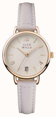 Jack Wills Womens Onslow Creme Zifferblatt rosa Lederarmband JW006PKRS