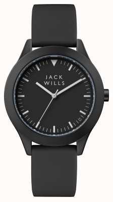 Jack Wills Mens Union schwarzes Zifferblatt schwarzes Silikonband JW009BKBK