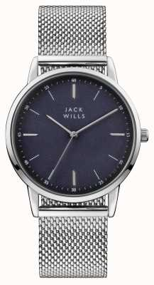 Jack Wills Herren Fortescue blaues Zifferblatt Edelstahl-Mesh-Armband JW011SSBL