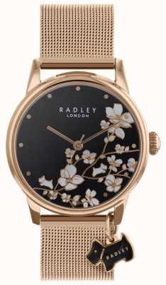 Radley Damenuhr Schleppblume Maschenband schwarzes Zifferblatt RY4346