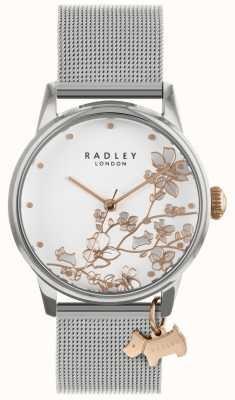 Radley Damenuhr Silber Mesh Armband weißes Zifferblatt RY4347