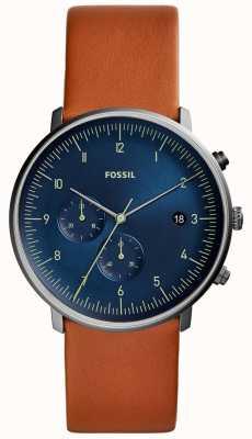 Fossil Herren Jagduhr braun Lederband blaues Zifferblatt FS5486