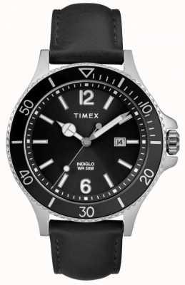 Timex   Männer   Indiglo Hafen   schwarzes Zifferblatt   schwarzes Leder   TW2R64400D7PF
