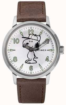 Timex Snoopy welton silbernes Zifferblatt braunes Lederarmband TW2R94900