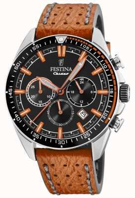 Festina Herren Chronograph schwarz Zifferblatt orange Lederband F20377/4