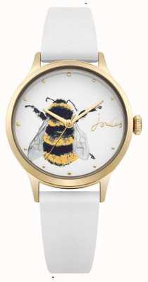 Joules Womens weißes Silikonband aus weißem Zifferblatt mit Biene JSL010WRG