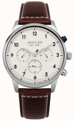 Joules Braune Herren Lederarmband Creme Chronograph Zifferblatt JSG007BR