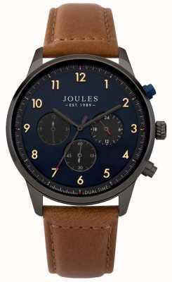 Joules Herren braunes Lederarmband blaues Chronographen-Zifferblatt JSG007TB