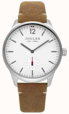 Joules Hellbraunes Lederband für Herren mattweißes Zifferblatt JSG005T