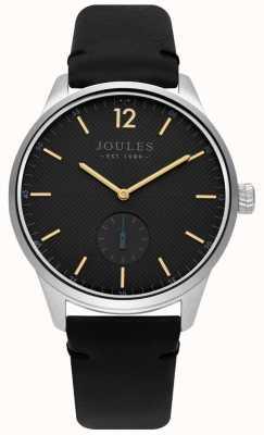 Joules Herren schwarzes Lederarmband mattes graues Zifferblatt JSG005B