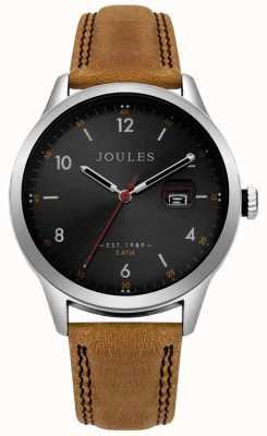 Joules Herren Sanderson Tan Lederband schwarzes Zifferblatt JSG004T