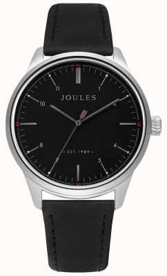 Joules Herren schwarzes Lederarmband mattes schwarzes Zifferblatt JSG002B