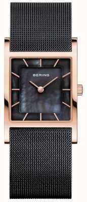 Bering Schwarzes Damen Mesh Armband aus schwarzem Perlmutt Zifferblatt 10426-166-S