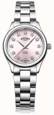 Rotary Damenarmband aus oxford diamantfarbenem rosafarbenem Edelstahl LB05092/07/D