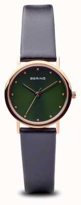 Bering Klassisch   poliertes roségold schwarzes Armband grünes Zifferblatt 13426-469