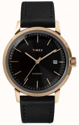 Timex Marlin Herren automatische schwarze Lederarmbanduhr TW2T22800