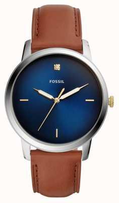 Fossil Mens minimalistische Uhr braun Lederband blaues Zifferblatt FS5499