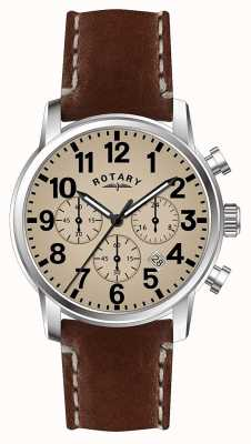 Rotary Mens Chronograph Quarz Lederband weißes Zifferblatt GS00430/31