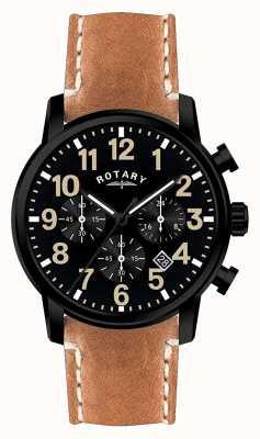 Rotary Herren Chronograph Quarz Lederband schwarzes Zifferblatt GS00433/04