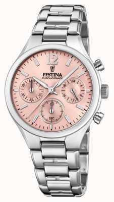Festina Damen Boyfriend Chronograph Edelstahl pinkes Zifferblatt F20391/2