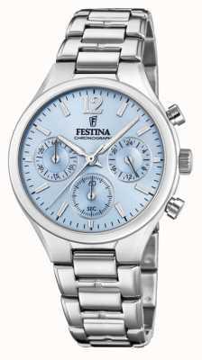 Festina Damen Chronograph aus Edelstahl mit blauem Zifferblatt F20391/3