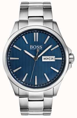 Hugo Boss Mens das James Edelstahlarmband blaues Zifferblatt 1513533