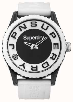 Superdry Urban | weißes Silikonband | schwarzes und weißes Zifferblatt SYG145WA