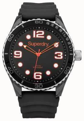 Superdry Schwarzes Silikonband | schwarzes Gehäuse SYG163BA