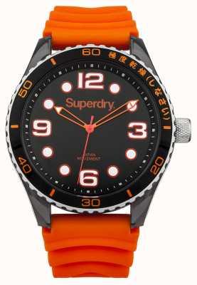Superdry Orange Silikonband | schwarzes Zifferblatt | weiße Markierungen SYG163OA