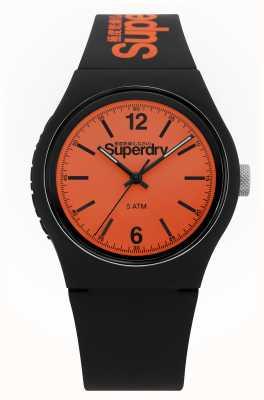Superdry Urban | schwarzes Silikonband | oranges Zifferblatt SYG017BO