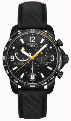 Certina Mens ds | Podium Chronograph | schwarzes Zifferblatt | schwarzes Leder C0016391605701