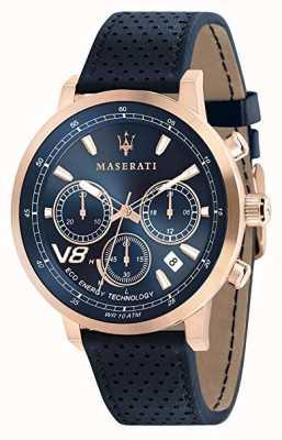 Maserati Mens gt 44mm | Solar | Roségoldgehäuse | blaues Zifferblatt | Leder R8871134003