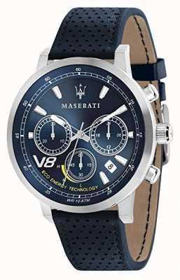 Maserati Mens gt 44mm | solares | silbergehäuse | blaues Zifferblatt | blaues Leder R8871134002