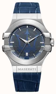 Maserati Mens Potenza 42mm | Edelstahl | blaues Zifferblatt | blaues Band R8851108015