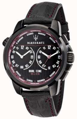 Maserati Mens successo 44mm | schwarzes Zifferblatt | schwarzes Lederarmband R8851121002