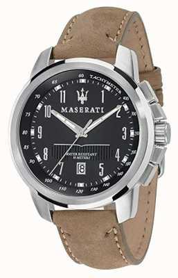 Maserati Mens successo 44mm | schwarzes Zifferblatt | Lederarmband R8851121004