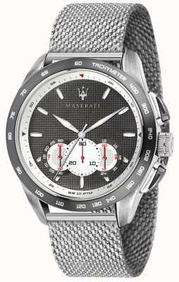 Maserati Mens traguardo 45mm | grau / schwarzes Zifferblatt | Edelstahlgewebe R8873612008