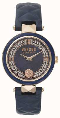 Versus Versace Frauen Covent Garten | blaues Swarovski Zifferblatt | blaues Leder VSPCD2817