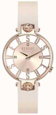 Versus Versace Frauen Kristenhof | rosa / weißes Zifferblatt | rosa Lederband VSP490318
