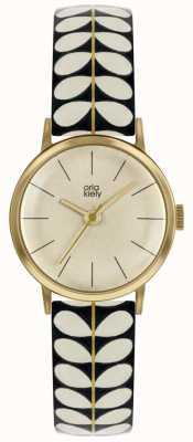 Orla Kiely | Damen Patricia Uhr | schwarzes und cremefarbenes Druckband | OK2266