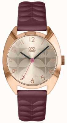 Orla Kiely | Damen Beatrice Uhr | Creme Sonnenstrahl Zifferblatt | Pflaumenband OK2296