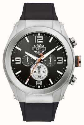 Harley Davidson Chronograph mit schwarzem Zifferblatt für Herren mit Kautschukarmband 76B176